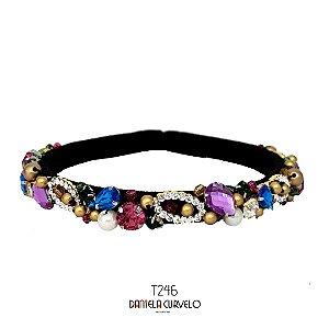 Tiara de Luxo Fina Preta Cristais Coloridos e Lilás - T246