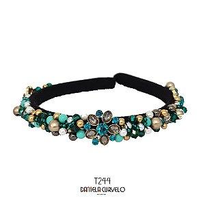 Tiara de Luxo Fina Preta, Flor  Verde Dourada e Cinza - T244