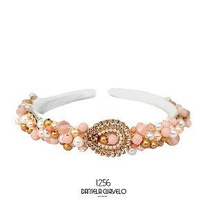 Tiara de Luxo Bordada Fina Branca Rosê com Dourado e Pérolas T256