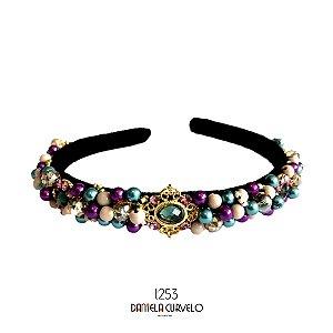 Tiara de Luxo Bordada Fina Preta Roxa, Lilás , Dourada e Petróleo T253