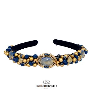 Tiara de Luxo Bordada Fina Preta Azul com Dourado T252