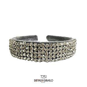 Tiara de Luxo Bordada Larga Cinza Strass Bordado T251