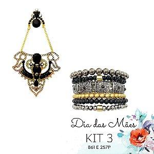 KIT 3 - Brinco Grande Preto e Dourado + Kit de Pulseiras