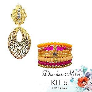 KIT 5 - Brinco Grande Dourado + Kit de Pulseiras Turquesa e Rosê
