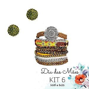KIT 6 - Brinco Pequeno Redondo Verde Musgo + Kit de Pulseiras Macramê