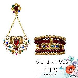 KIT 9 - Brinco Dourado Vermelho e Colorido + Kit de Pulseiras