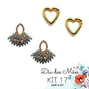 KIT 17 - Brinco Cinza e Dourado + Brinco Coração Dourado