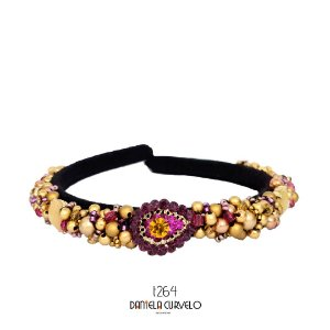 Tiara de Luxo Bordada Fina Preta Roxa Pink e Dourada T264