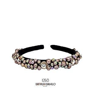Tiara de Luxo Bordada Fina Missangas Cinza Boreal T260