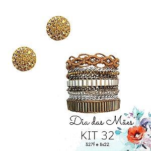 KIT 32 - Brinco Redondo Dourado + Pulseira Macramê Dourada e Marrom