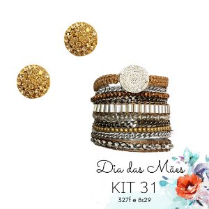 KIT 31 - Brinco Redondo Dourado + Pulseira Macramê Dourada e Marrom