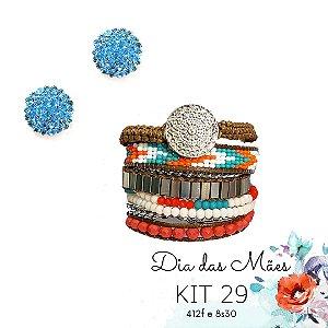 KIT 29 - Brinco Redondo Azul Claro + Pulseira Macramê Turquesa e Laranja
