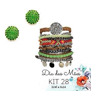 KIT 28 - Brinco Redondo Verde Claro + Pulseira Macramê Verde e Colorido