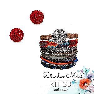 KIT 33 - Brinco Redondo Vermelho + Pulseira Macramê Vermelha e Azul
