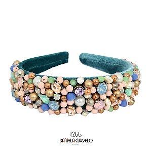 Tiara de Luxo Bordada Larga Verde Pedrarias Candy T266