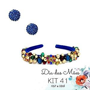KIT 41 - Tiara Bordada Fina Azul e Colorida  +  Brinco Redondo Azul Bic