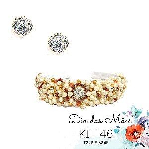 KIT 46 - Tiara Larga Branca e Dourada + Brinco Redondo Branco