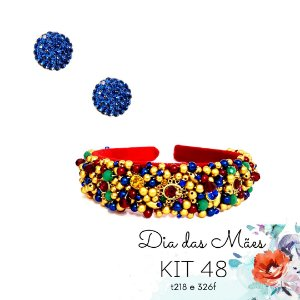 KIT 48 - Tiara Larga Vermelha e Colorida + Brinco Redondo Azul