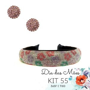 KIT 55 - Tiara Larga de Strass Florida  + Brinco Redondo Lilás
