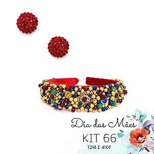 KIT 66 - Tiara Bordada Vermelho e Colorido + Brinco Redondo Vermelho