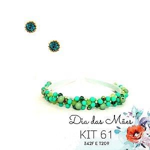 KIT 61 - Tiara Fina Bordada Verde Água + Brinco Ponto de Luz Verde