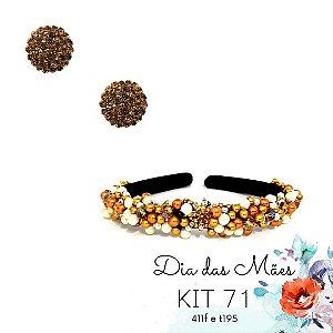 KIT 71 - Tiara Bordada Fina Dourada + Brinco Redondo Marrom