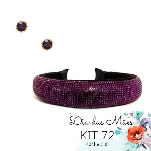 KIT 72 - Tiara de Strass Roxa + Ponto de Luz Roxo