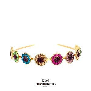 Tiara de Metal Flores de Strass Colorido Vibrante - T269