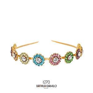 Tiara de Metal Flores Candy Color - T270