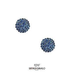 Brinco Pequeno Redondo Azul Jeans - BF434BJ