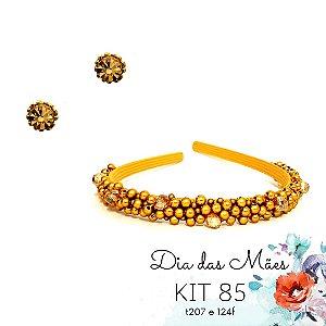 KIT 85 - Tiara Fina Bordada Dourada + Ponto de Luz Dourado