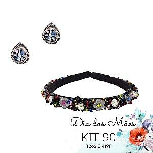 KIT 90 - Ponto de Luz Branco + Tiara Preta com Florzinhas