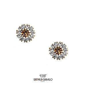 Brinco Pequeno de Flor Cristal e Dourado - BF438BR