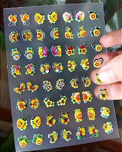Cartelão 3D - FLORES AMARELAS - 56 Adesivos