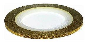 Fita Metálica Adesiva para Unha - Dourada com gliter