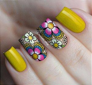 Adesivos de Unha Flores Coloridas - FL111