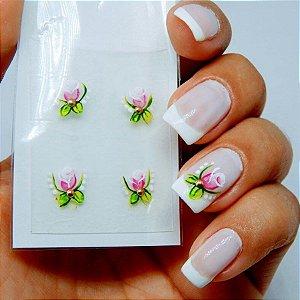 Adesivos de Unha Artesanal Flor Delicada Rosa - Art21