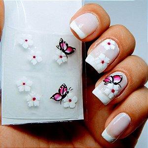 Adesivos de Unha Artesanal Flores Brancas com Borboleta - Art22