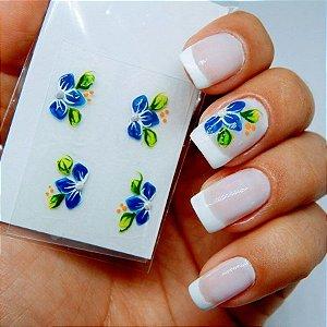 Adesivos de Unha Artesanal Floral Azul e Branco - Art26