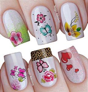 Adesivos de Unha Estampa mista flores borboletas e corações - mit16