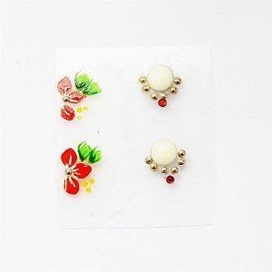 Adesivos de Unha Artesanal Floral Vermelha com Joia - art52