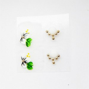 Adesivos de Unha Artesanal Flor Branca com Joia - Art53