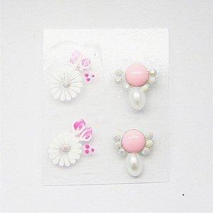 Adesivos de Unha Artesanal Flor Branca com Joia Rosa - Art56
