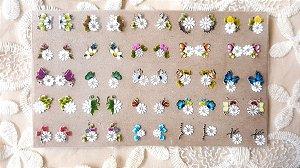 Cartelão Adesivos de Unha 3D - flores Brancas - 50 adesivos