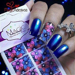 Adesivo de Unha Flores com Brilho - Linha Crystal SP12
