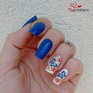 Adesivos de Unha Borboleta Azul com Flores Rosas - BR47