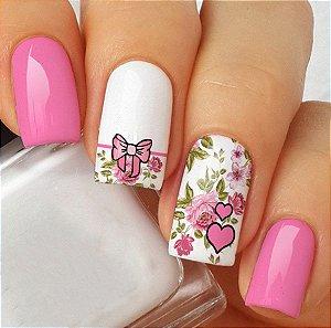 Adesivos de Unha Floral Retrô com Laço Rosa e Coração