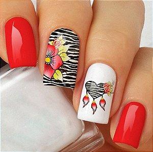 Adesivos de Unha Combinado Zebra com Flor vermelha e Coração