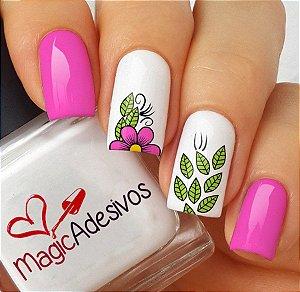 Adesivos de Unha Combinado Flor Rosa e Folhas - FL121