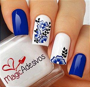 Adesivos de Unha Ramo de Flores Azuis - FL141